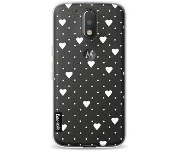 Pin Point Hearts White Transparent - Motorola Moto G4 / G4 Plus