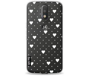 Pin Point Hearts White Transparent - Motorola Moto G4 / G4 Plus