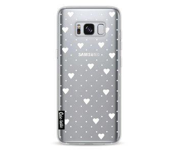 Pin Point Hearts White Transparent - Samsung Galaxy S8