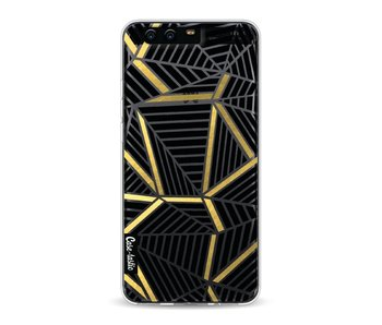 Abstraction Lines Black Gold Transparent - Huawei P10