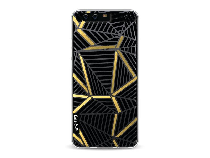 Casetastic Softcover Huawei P10 - Abstraction Lines Black Gold Transparent