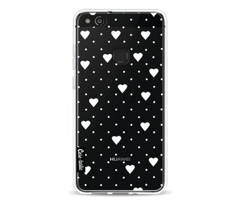 Pin Point Hearts White Transparent - Huawei P10 Lite