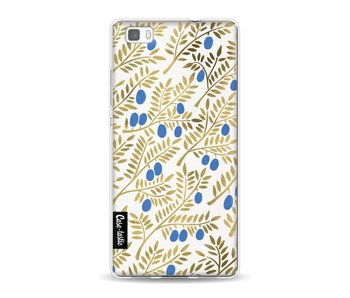 Blue Gold Olive Branches Artprint - Huawei P8 Lite