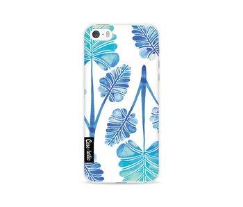 Blue Ombre Palm Leaf Trifecta Pattern - Apple iPhone 5 / 5s / SE