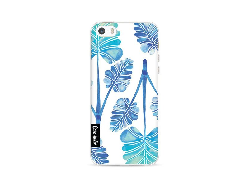 Casetastic Softcover Apple iPhone 5 / 5s / SE - Blue Ombre Palm Leaf Trifecta Pattern