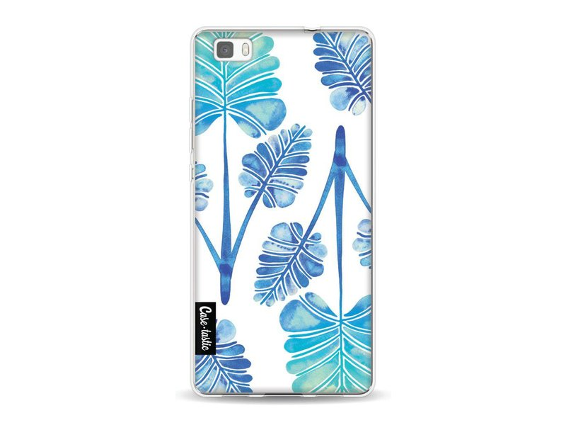 Casetastic Softcover Huawei P8 Lite - Blue Ombre Palm Leaf Trifecta Pattern