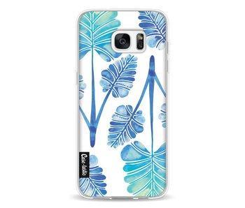 Blue Ombre Palm Leaf Trifecta Pattern - Samsung Galaxy S7 Edge