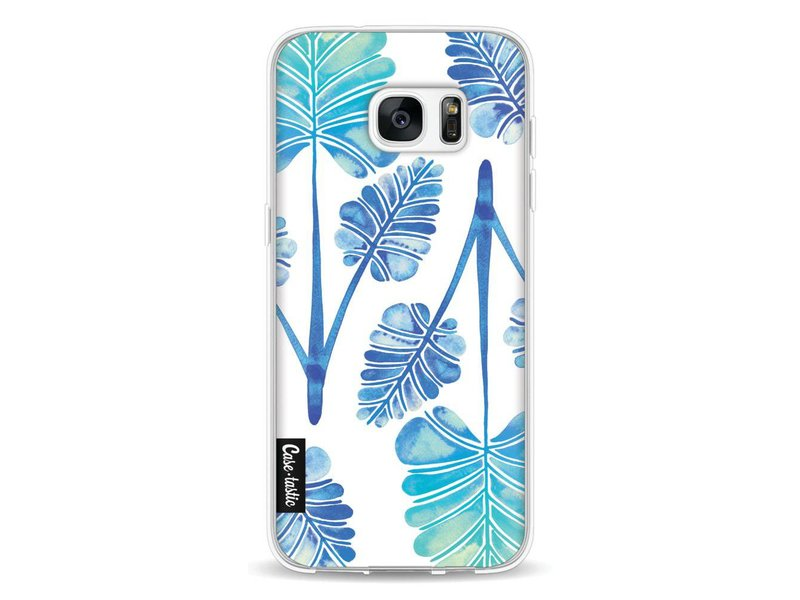 Casetastic Softcover Samsung Galaxy S7 Edge - Blue Ombre Palm Leaf Trifecta Pattern
