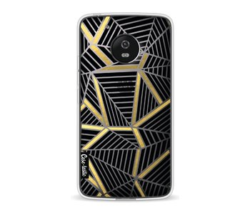 Abstraction Lines Black Gold Transparent - Motorola Moto G5