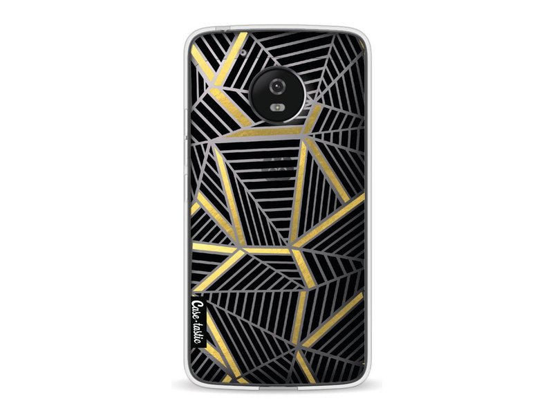 Casetastic Softcover Motorola Moto G5 - Abstraction Lines Black Gold Transparent