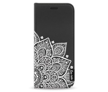 Floral Mandala White - Wallet Case Black Samsung Galaxy S8