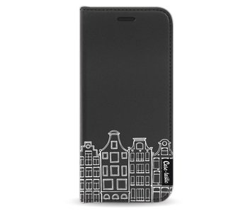 Amsterdam Canal Houses White - Wallet Case Black Samsung Galaxy S8