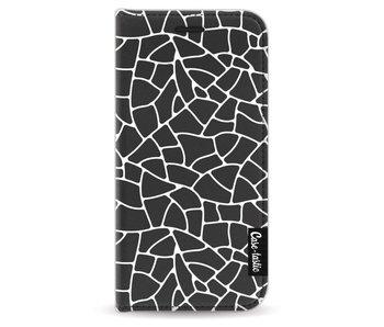 Transparent Mosaic White - Wallet Case Black Apple iPhone 5 / 5s / SE