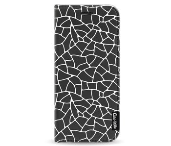 Transparent Mosaic White - Wallet Case Black Samsung Galaxy S8