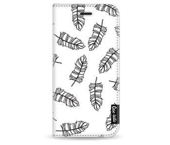 Feathers Outline Black - Wallet Case White Apple iPhone 6