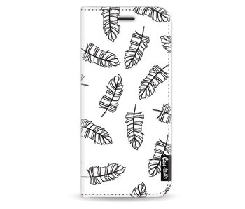 Feathers Outline Black - Wallet Case White Samsung Galaxy S8