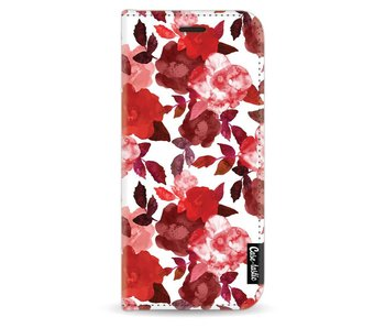 Royal Flowers Red - Wallet Case White Samsung Galaxy S8