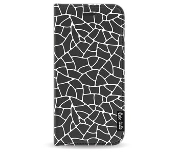 Transparent Mosaic White - Wallet Case Black Apple iPhone 6