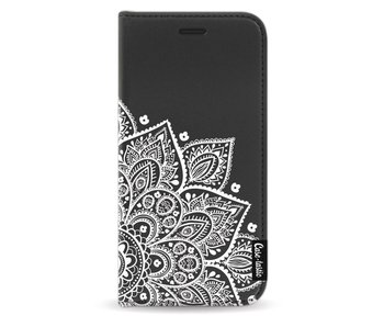 Floral Mandala White - Wallet Case Black Samsung Galaxy J3 (2017)
