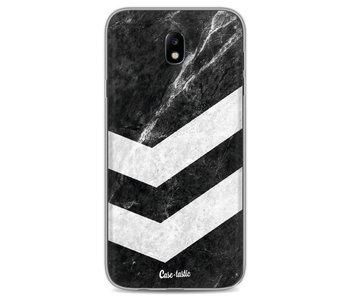 White on Black Striped Marble - Samsung Galaxy J7 (2017)