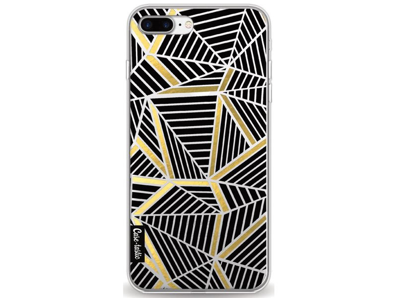 Casetastic Softcover Apple iPhone 8 Plus - Abstraction Lines Black Gold Transparent