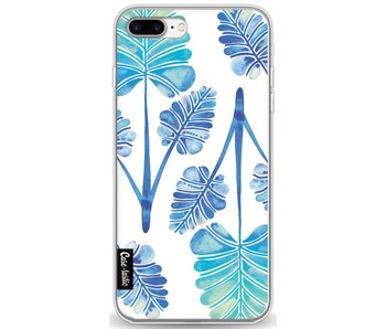 Blue Ombre Palm Leaf Trifecta Pattern - Apple iPhone 8 Plus
