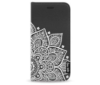 Floral Mandala White - Wallet Case Black Apple iPhone 7/8