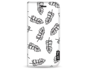 Feathers Outline Black - Wallet Case White Apple iPhone 7/8