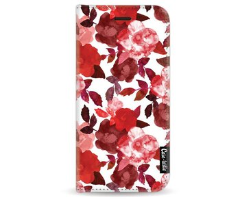 Royal Flowers Red - Wallet Case White Apple iPhone 7