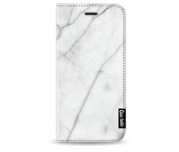 White Marble - Wallet Case Black Apple iPhone 7/8