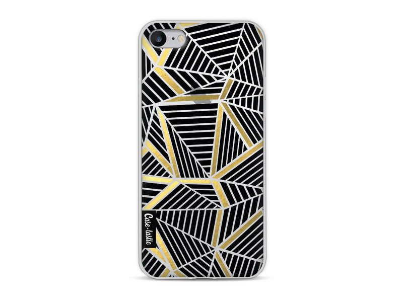 Casetastic Softcover Apple iPhone 8 - Abstraction Lines Black Gold Transparent