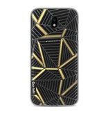 Casetastic Softcover Samsung Galaxy J5 (2017) - Abstraction Lines Black Gold Transparent
