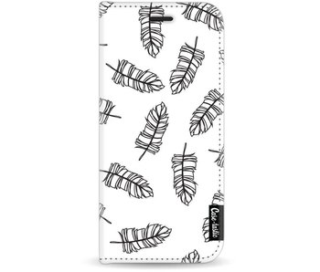 Feathers Outline Black - Wallet Case White Samsung Galaxy J7 (2017)