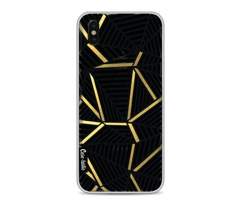 Abstraction Lines Black Gold Transparent - Apple iPhone X