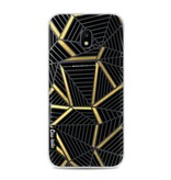 Casetastic Softcover Samsung Galaxy J3 (2017)  - Abstraction Lines Black Gold Transparent