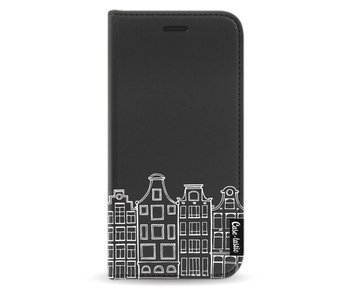 Amsterdam Canal Houses White - Wallet Case Black Samsung Galaxy J3 (2017)