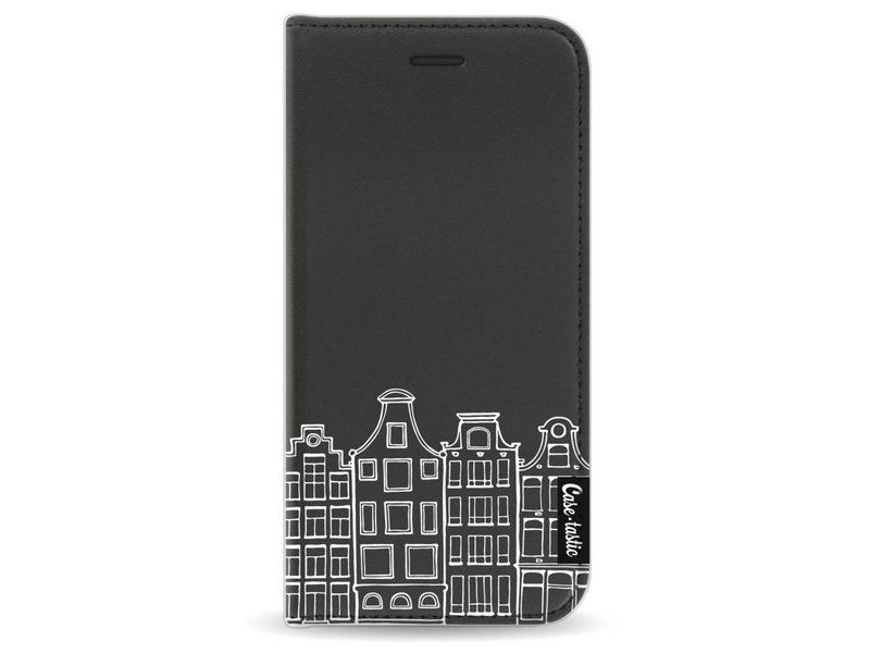 Casetastic Wallet Case Black Apple iPhone 8 - Amsterdam Canal Houses White