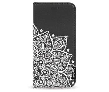 Floral Mandala White - Wallet Case Black Apple iPhone 8