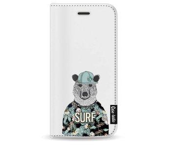 Surf Bear - Wallet Case White Apple iPhone 8