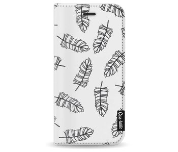 Feathers Outline Black - Wallet Case White Apple iPhone 8