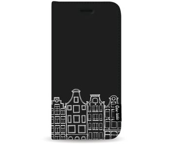 Amsterdam Canal Houses White - Wallet Case Black Apple iPhone 8 Plus