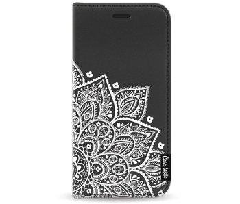 Floral Mandala White - Wallet Case Black Motorola Moto G5