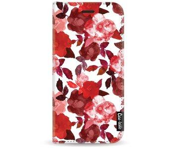 Royal Flowers Red - Wallet Case White Motorola Moto G5