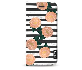 Striped Winter Flowers - Wallet Case Black Apple iPhone 6