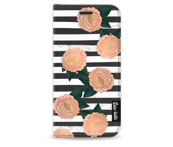 Striped Winter Flowers - Wallet Case Black Apple iPhone 5 / 5s / SE
