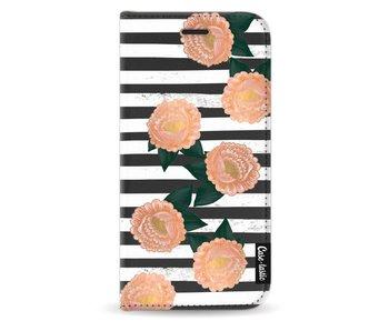 Striped Winter Flowers - Wallet Case Black Samsung Galaxy J5 (2017)