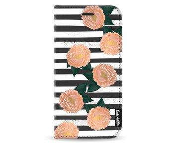 Striped Winter Flowers - Wallet Case Black Apple iPhone X
