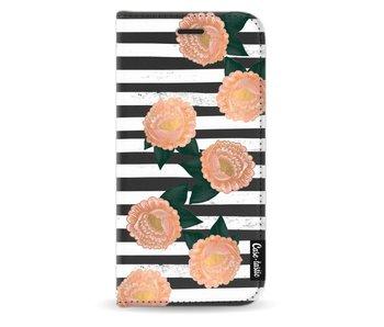 Striped Winter Flowers - Wallet Case Black Motorola Moto G5