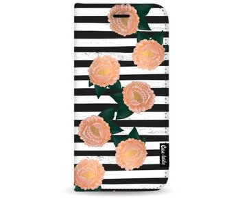 Striped Winter Flowers - Wallet Case Black Samsung Galaxy S8 Plus
