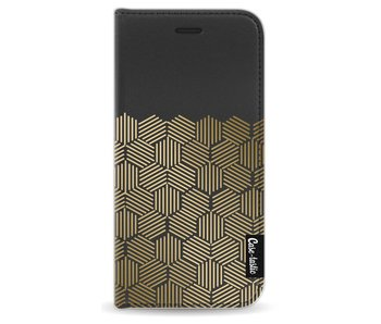 Golden Hexagons - Wallet Case Black Apple iPhone 6